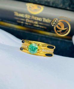 Nhẫn kim cương Moissanite đính tấm luồng 2 sợi lông voi