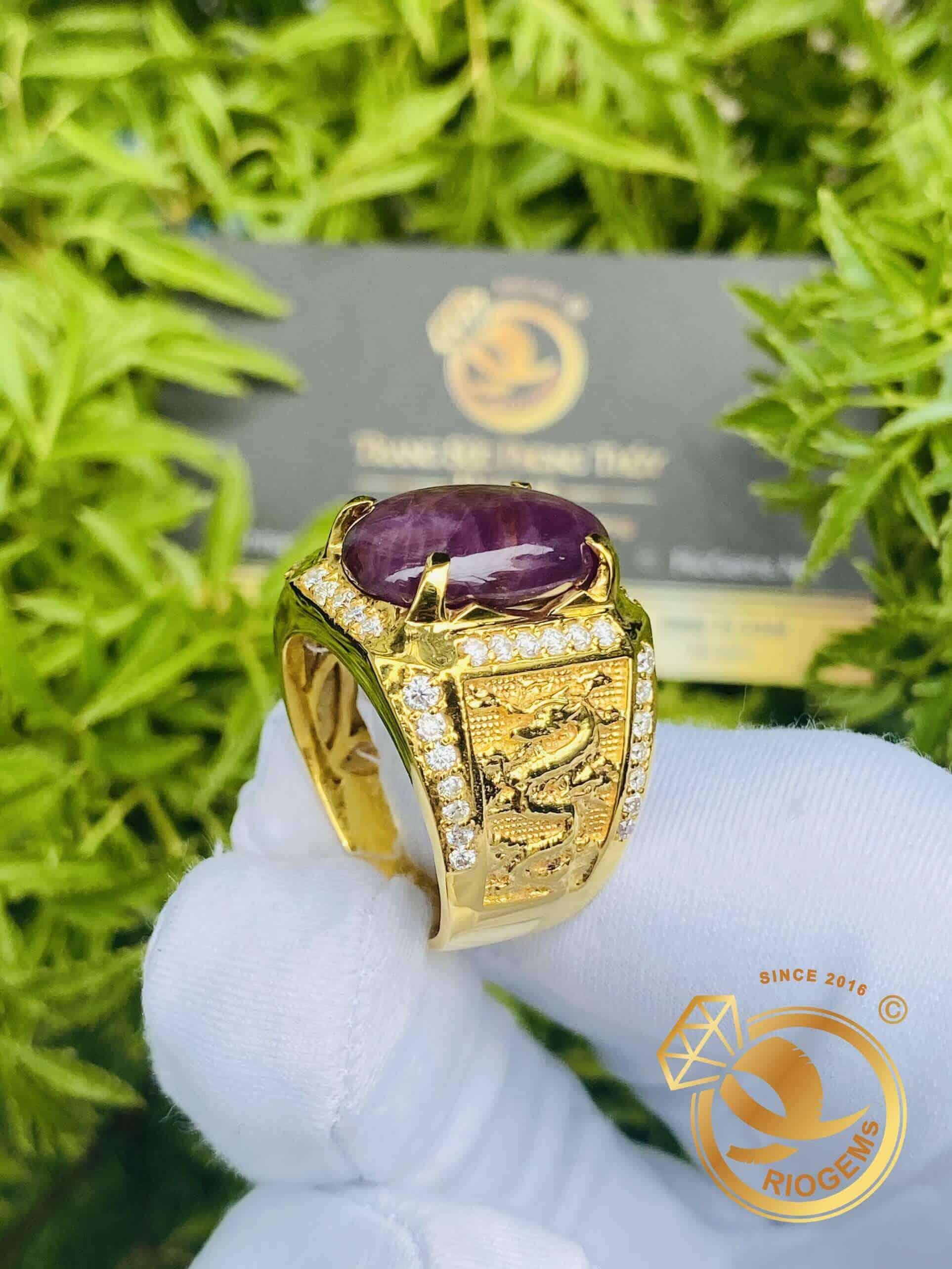 Nhẫn Đá Ruby Tự Nhiên Yên Bái Vàng 10K