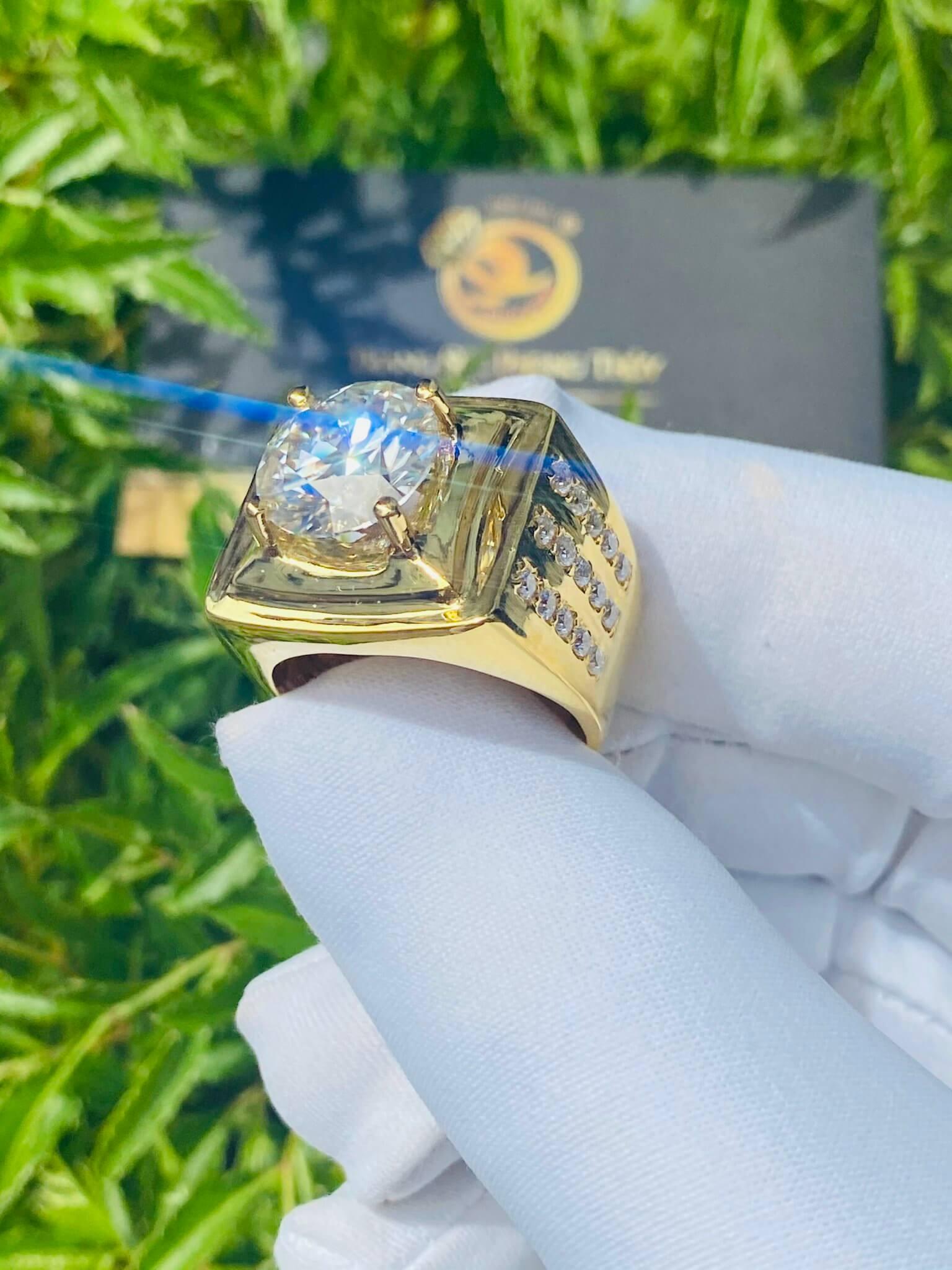 Nhẫn kim cương vàng nam 18K