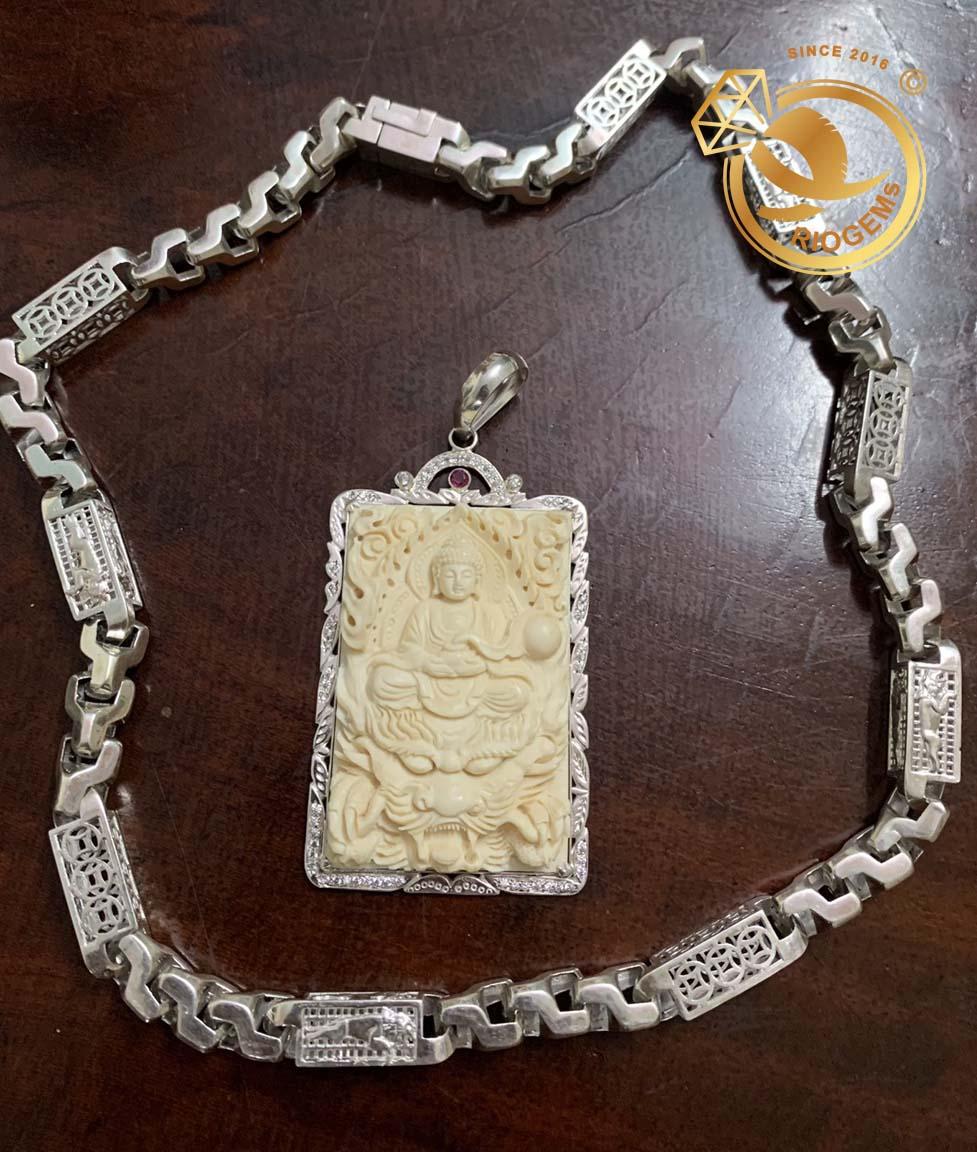 dây chuyền bạch kim nam và mặt dây Phật