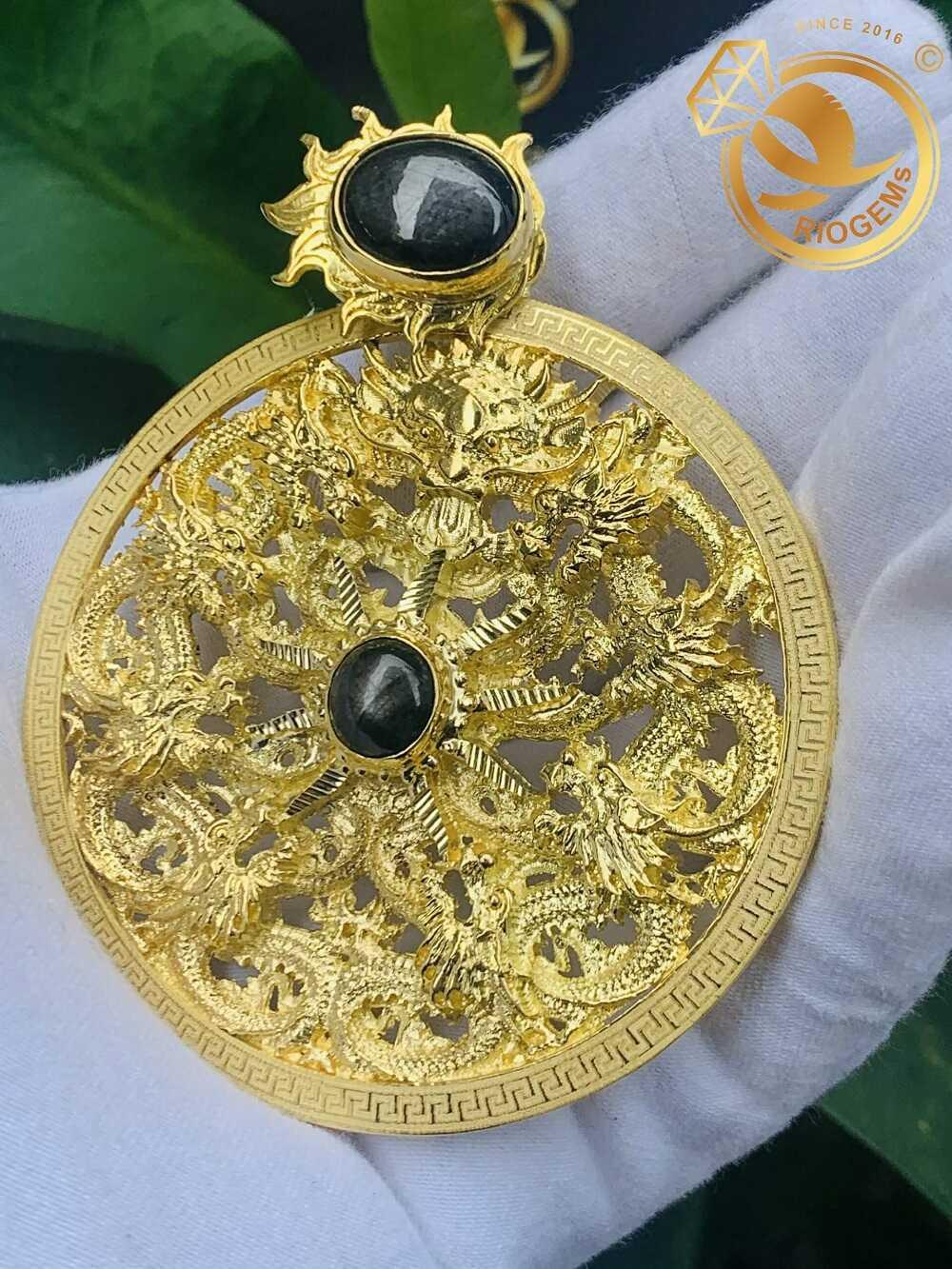 Mặt dây chuyền vàng tây nam 9 Rồng