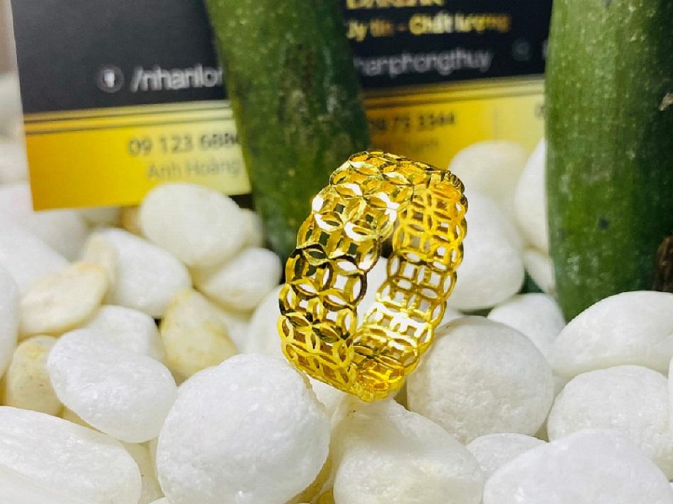 Nhẫn Kim tiền kép vàng 18K