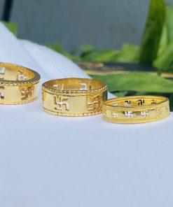 Nhẫn cặp khắc chữ Vạn
